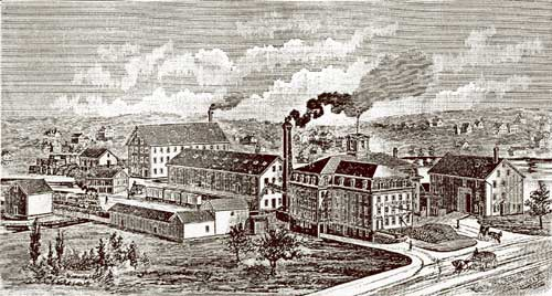 Artist's rendering of Gardner Standard Chair factory from the 1860's